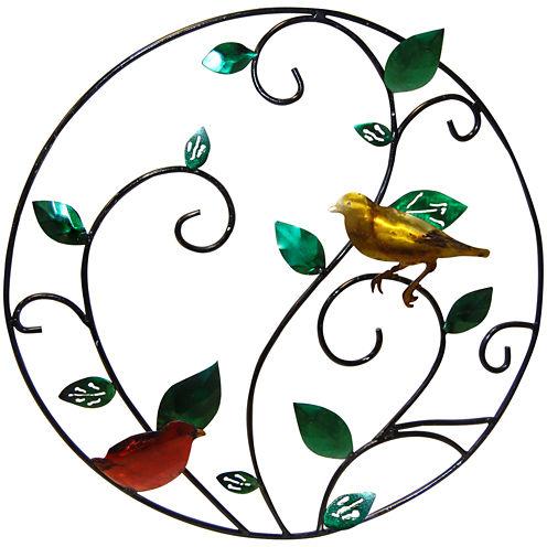 Bird Branch Metal Circle Wall Decor
