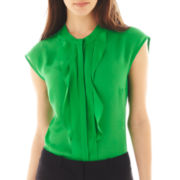 Worthington® Cap-Sleeve Ruffled Blouse