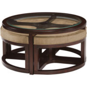 Cambria Glass Top Round Coffee Table with Upholstered Nesting Stools
