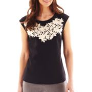 Worthington® Short-Sleeve Lace Embroidered Top - Tall