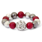 Mixit™ Red, Hematite and Rhodium Stretch Bracelet