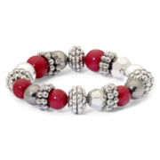 Mixit™ Red, Hematite and Silver-Tone Stretch Bracelet