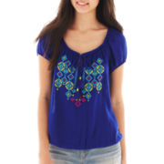 Arizona Short-Sleeve Embroidered Peasant Top