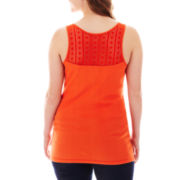 Arizona Lace-Back Ribbed Tank Top - Plus
