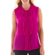 Worthington® Sleeveless Ruffled Button-Front Top - Plus