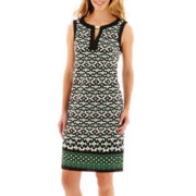 London Style Collection Sleeveless Print Shift Dress