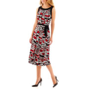 Perceptions Sleeveless Seamed Geo Dot Dress with Tie Belt