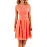 London Style Collection Sleeveless Floral Lace Fit-and-Flare Dress