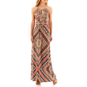 London Style Collection Sleeveless Multi-Print Maxi Dress