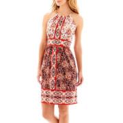 London Style Collection Sleeveless Multi-Print Halter Dress