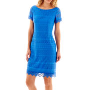 London Style Collection Short-Sleeve Lace Shift Dress
