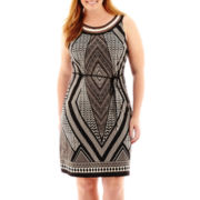 Studio 1® Sleeveless Geo Print Sheath Dress - Plus