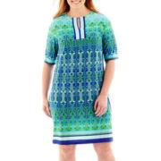 Studio 1® Elbow-Sleeve Geo Print Knit Sheath Dress - Plus