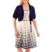 Studio 1® Elbow-Sleeve Polka Dot Jacket Dress - Plus