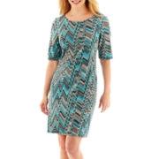 MSK Elbow-Sleeve Knit Sheath Dress - Petite