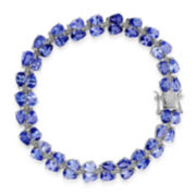 CLOSEOUT! Pear-Shaped Genuine Tanzanite and White Topaz Sterling Silver Bracelet
