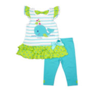 Nanette Baby Whale Top and Leggings - Toddler Girls 2t-4t