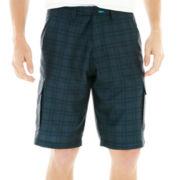 Burnside® Plaid Microfiber Cargo Shorts