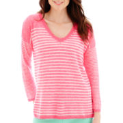 Stylus™ 3/4-Sleeve V-Neck Striped Sweater