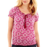 St. John's Bay® Short-Sleeve Tassel-Tie Peasant Top - Petite