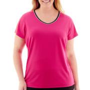 Made For Life™ Short-Sleeve V-Neck Mesh T-Shirt - Plus
