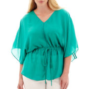 a.n.a® Dolman-Sleeve Cinched-Waist Top - Plus