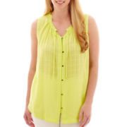 a.n.a® Sleeveless Flowy Peasant Shirt - Plus