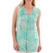a.n.a® Sleeveless Flowy Peasant Shirt - Plus