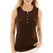 Liz Claiborne® Sleeveless Slub-Knit Henley Tank Top