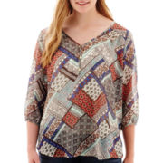 Star Scene 3/4-Sleeve Woven Top - Plus