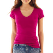 jcp™ Short-Sleeve Ribbed V-Neck Tee - Tall