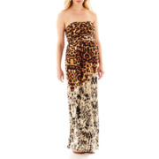 Maternity Strapless Animal-Print Maxi Dress