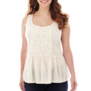 Arizona Sleeveless Drop-Waist Peplum Tank Top