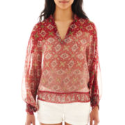 MNG by Mango® Ombré Print Peasant Blouse
