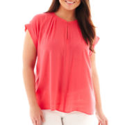 jcp™ Print Short-Sleeve Peasant Top - Plus