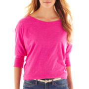jcp™ Dolman-Sleeve Slub Cotton Top