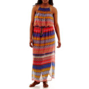 City Triangles® Sleeveless Batik Chiffon Maxi Dress - Plus