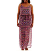 City Triangles® Sleeveless Geo Print Cross-Back Maxi Dress - Plus