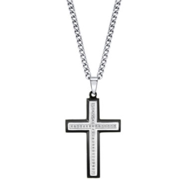 jcpenney.com | Mens 1/10 CT. T.W. Diamond Two-Tone Stainless Steel Cross Pendant Necklace