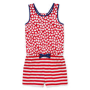 Okie Dokie® Gathered-Back Romper - Toddler Girls 2t-5t