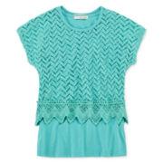 Self Esteem® Crochet Overlay Top - Girls 7-16