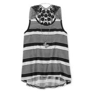 Beautees High-Low Crochet Tank Top and Necklace - Girls 7-16