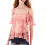 Ransom™ Short-Sleeve Lace Cold-Shoulder Top
