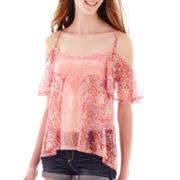 Ransom™ Short-Sleeve Lace Cold-Shoulder Top