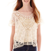Rewind Short-Sleeve Crochet Poncho