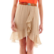 by&by Belted Ruffle Skirt
