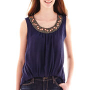 by&by Sleeveless Bubble-Hem Necklace-Trim Chiffon Top