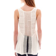 by&by Sleeveless Solid Challis Split-Back Top