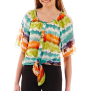 by&by 3/4-Sleeve Tie-Dye Print Cold-Shoulder Top