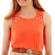 by&by Sleeveless Studded Lattice Top
